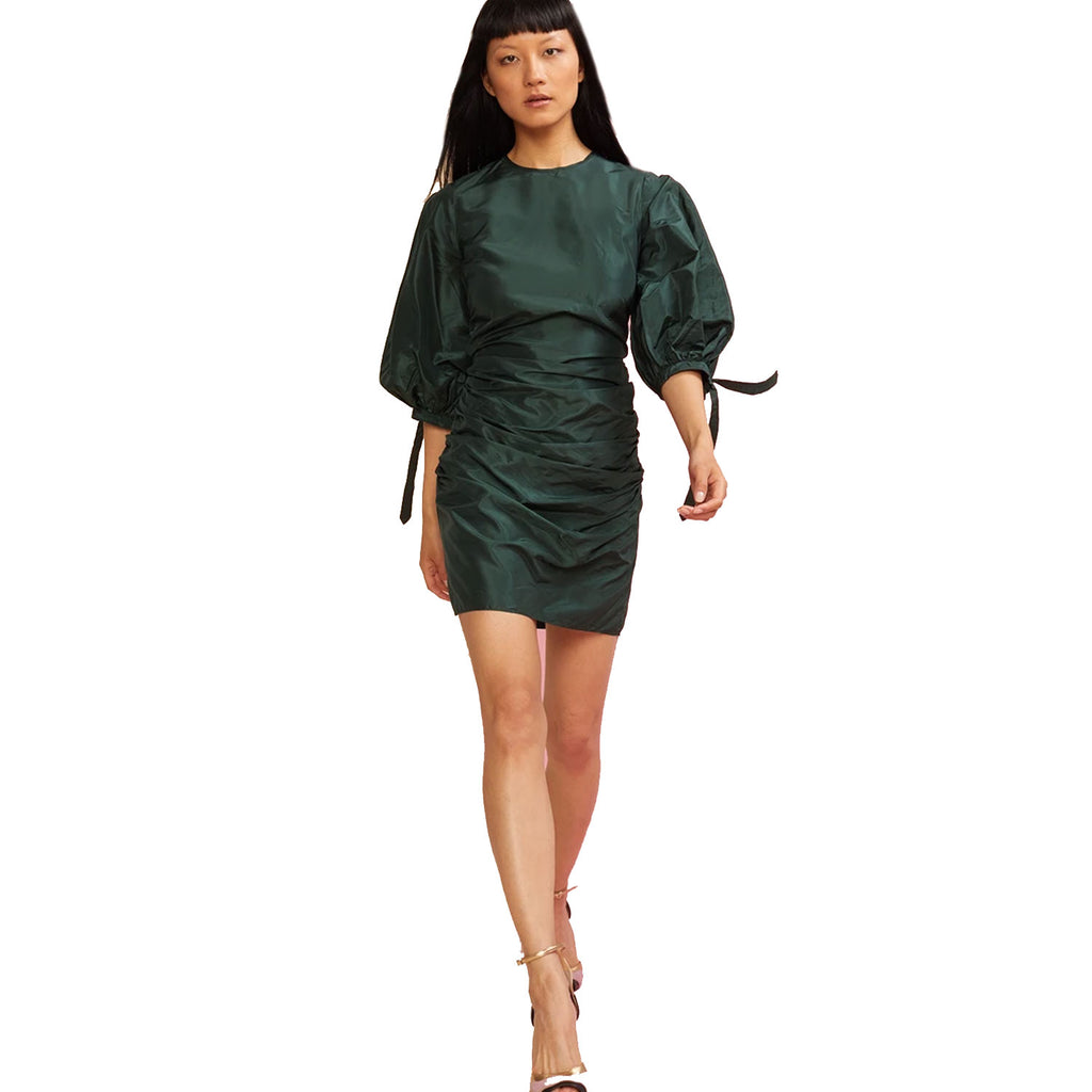 Cynthia Rowley Emerald Andi Silk Ruched Mini Dress Size 6 Muse Boutique Outlet | Shop Designer Dresses on Sale | Up to 90% Off Designer Fashion
