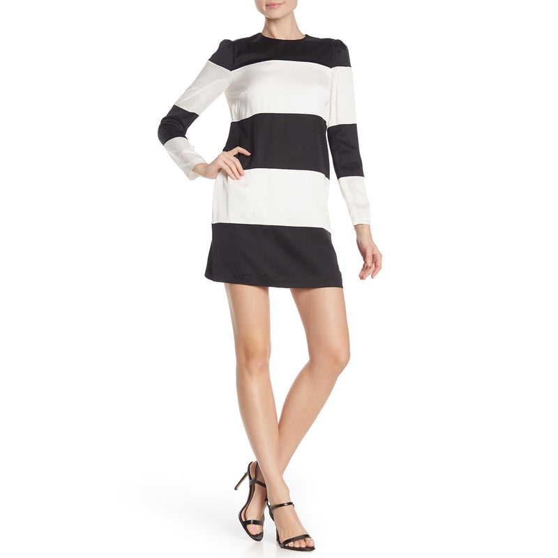 Cynthia Rowley Black/Cream Long Sleeve Striped Shift Dress Size 0 Muse Boutique Outlet | Shop Designer Dresses on Sale | Up to 90% Off Designer Fashion