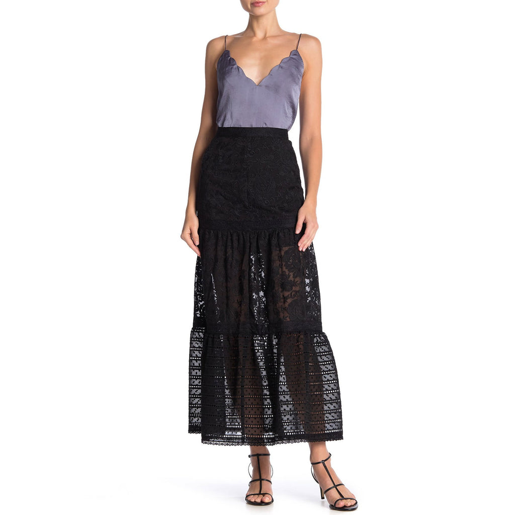 Cynthia Rowley Black Lace Eyelet Maxi Skirt Size 0 Muse Boutique Outlet | Shop Designer Skirts on Sale | Up to 90% Off Designer Fashion