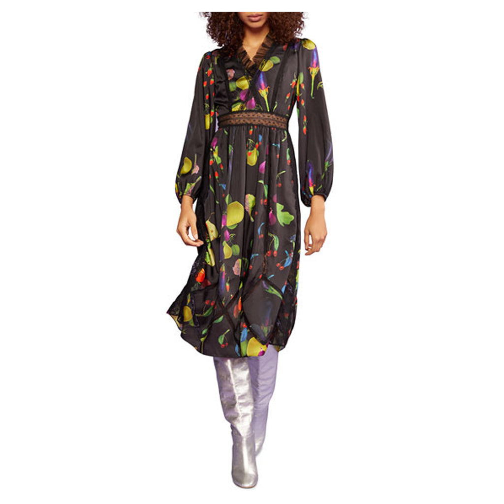 Cynthia Rowley Black Multi Printed Long Sleeve Lace & Tulle Midi Dress Size 0 Muse Boutique Outlet | Shop Designer Dresses on Sale | Up to 90% Off Designer Fashion