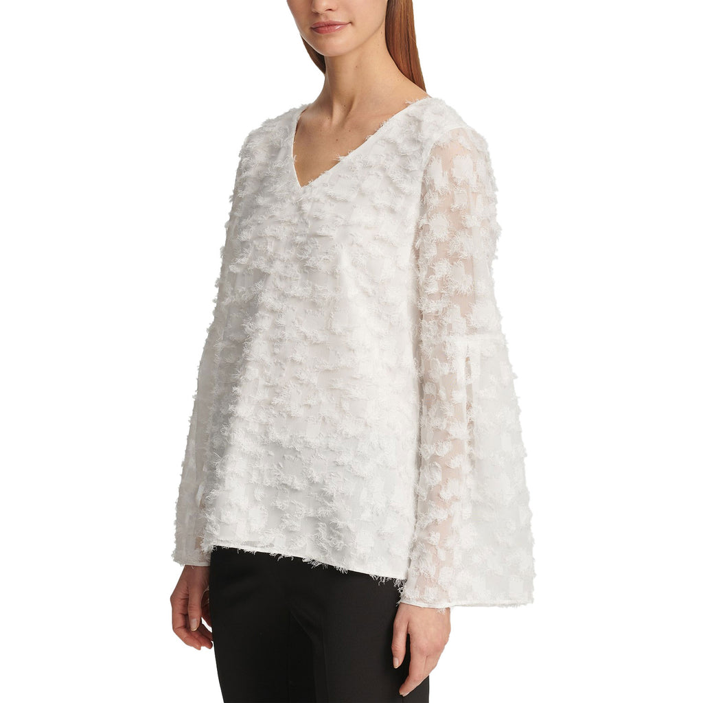 DKNY Ivory Feathered Finish Bell Sleeve Top Size Medium Muse Boutique Outlet | Shop Designer Long Sleeve Tops on Sale | Up to 90% Off Designer Fashion