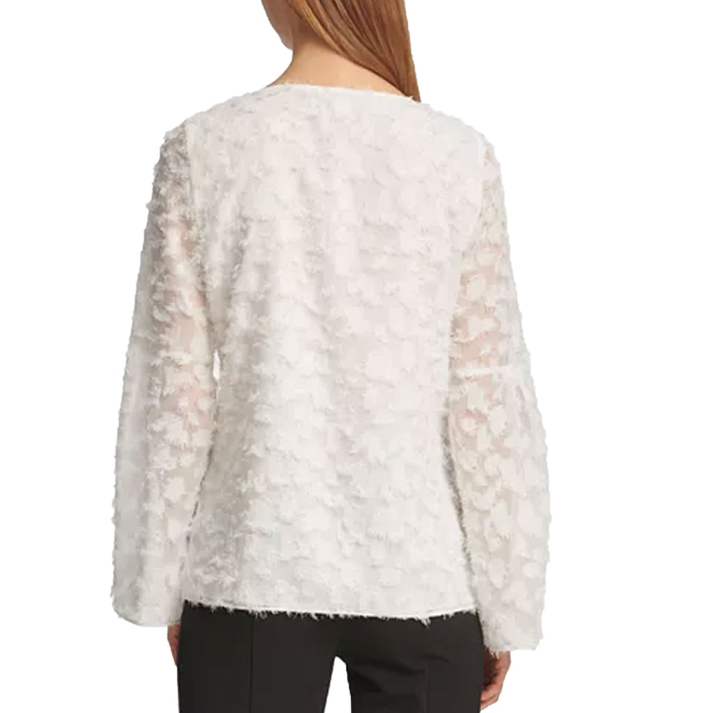 DKNY  Feathered Finish Bell Sleeve Top Size  Muse Boutique Outlet | Shop Designer Long Sleeve Tops on Sale | Up to 90% Off Designer Fashion