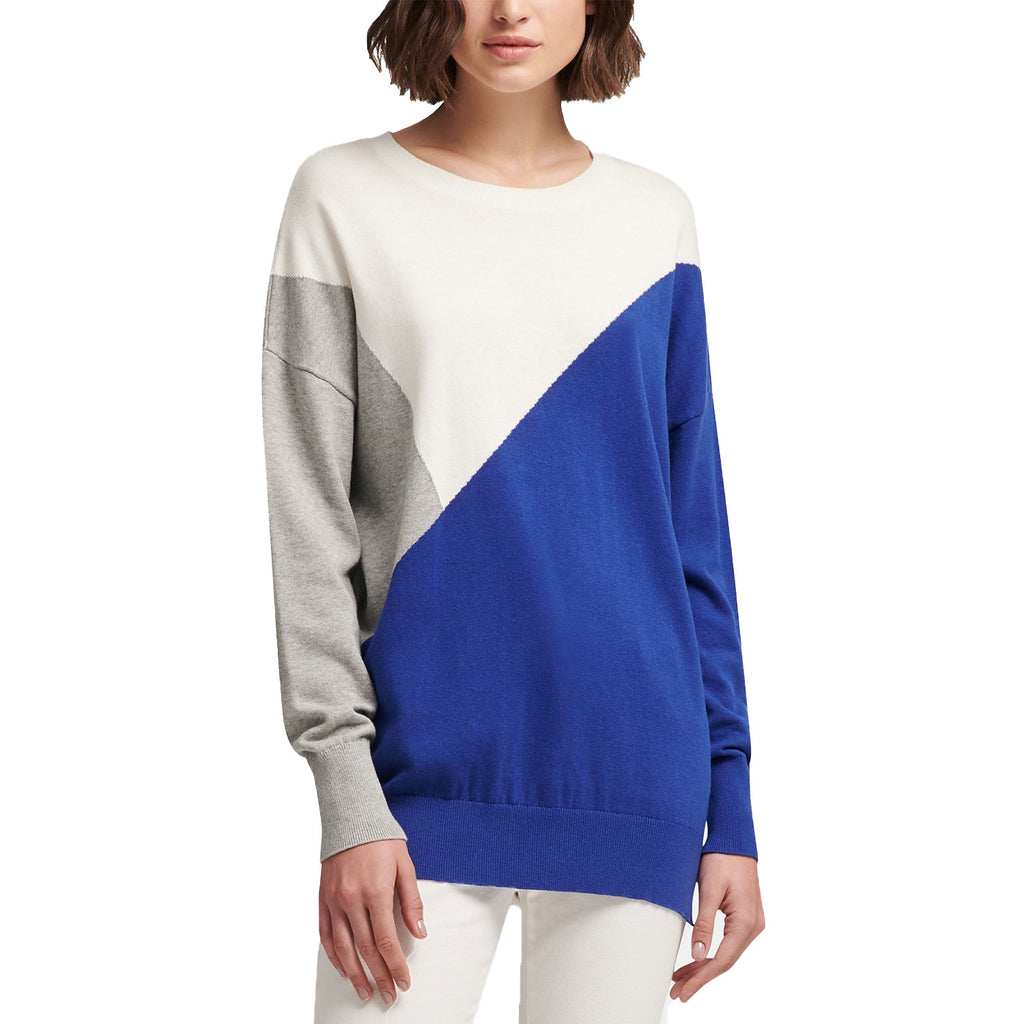 DKNY Blue/multi Living Linear Colorblock Sweatershirt Size Large Muse Boutique Outlet | Shop Designer Sweaters on Sale | Up to 90% Off Designer Fashion