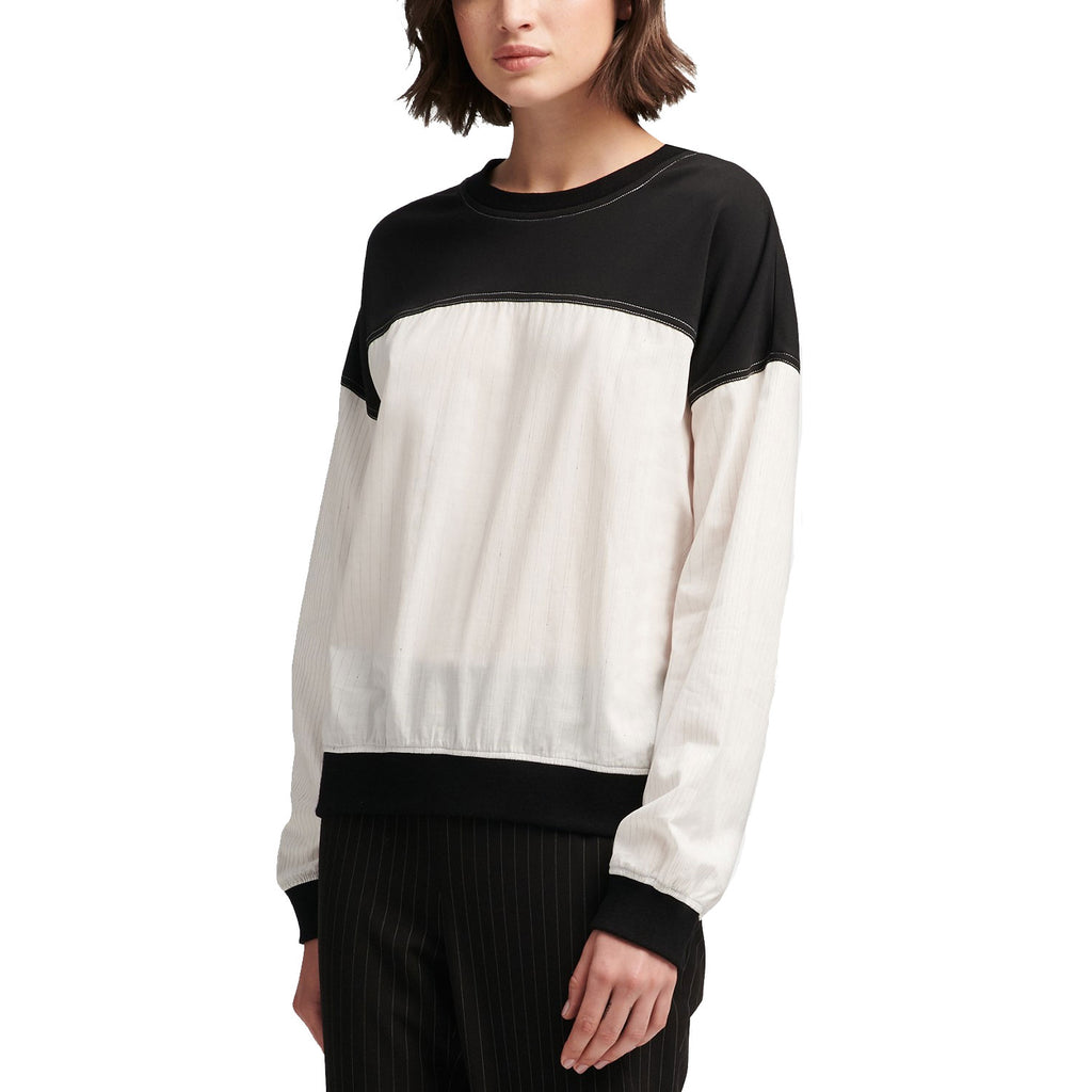 DKNY Black/White Long-Sleeve Colorblocked Top Size Large Muse Boutique Outlet | Shop Designer Long Sleeve Tops on Sale | Up to 90% Off Designer Fashion