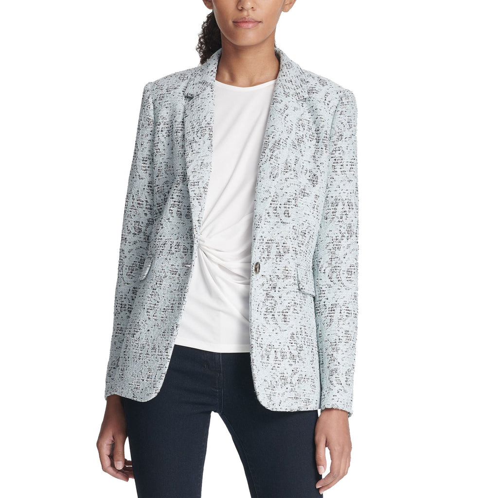 DKNY Sky Bonded Lace One-Button Jacket Size 4 Muse Boutique Outlet | Shop Designer Blazers on Sale | Up to 90% Off Designer Fashion