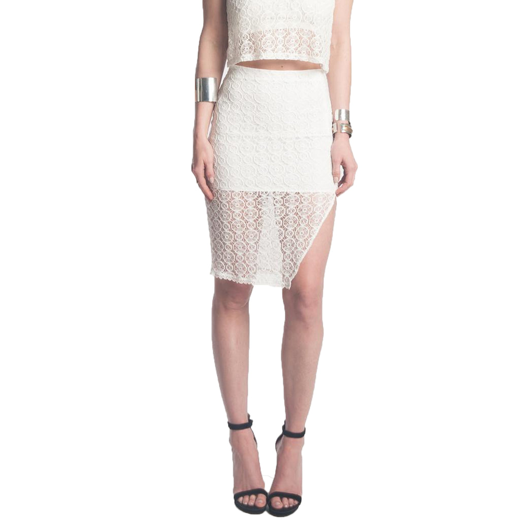 Donna Mizani Ivory Orbit Lace Midi Skirt Size Small Muse Boutique Outlet | Shop Designer Skirts on Sale | Up to 90% Off Designer Fashion