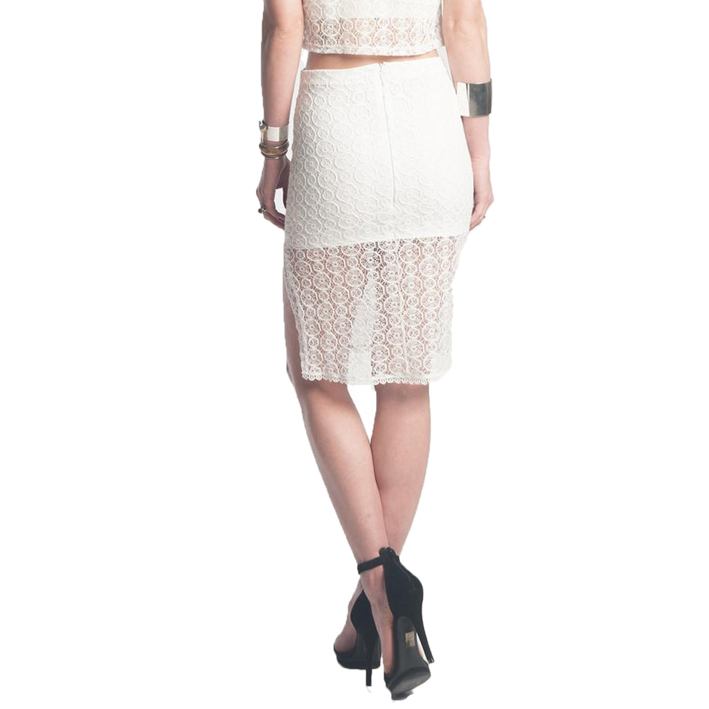 Donna Mizani  Orbit Lace Midi Skirt Size  Muse Boutique Outlet | Shop Designer Skirts on Sale | Up to 90% Off Designer Fashion