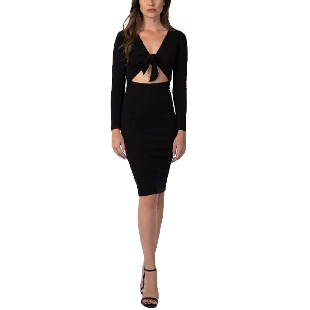 Donna Mizani Black Cut out Tie Front Midi Dress Size Extra Small Muse Boutique Outlet | Shop Designer Dresses on Sale | Up to 90% Off Designer Fashion