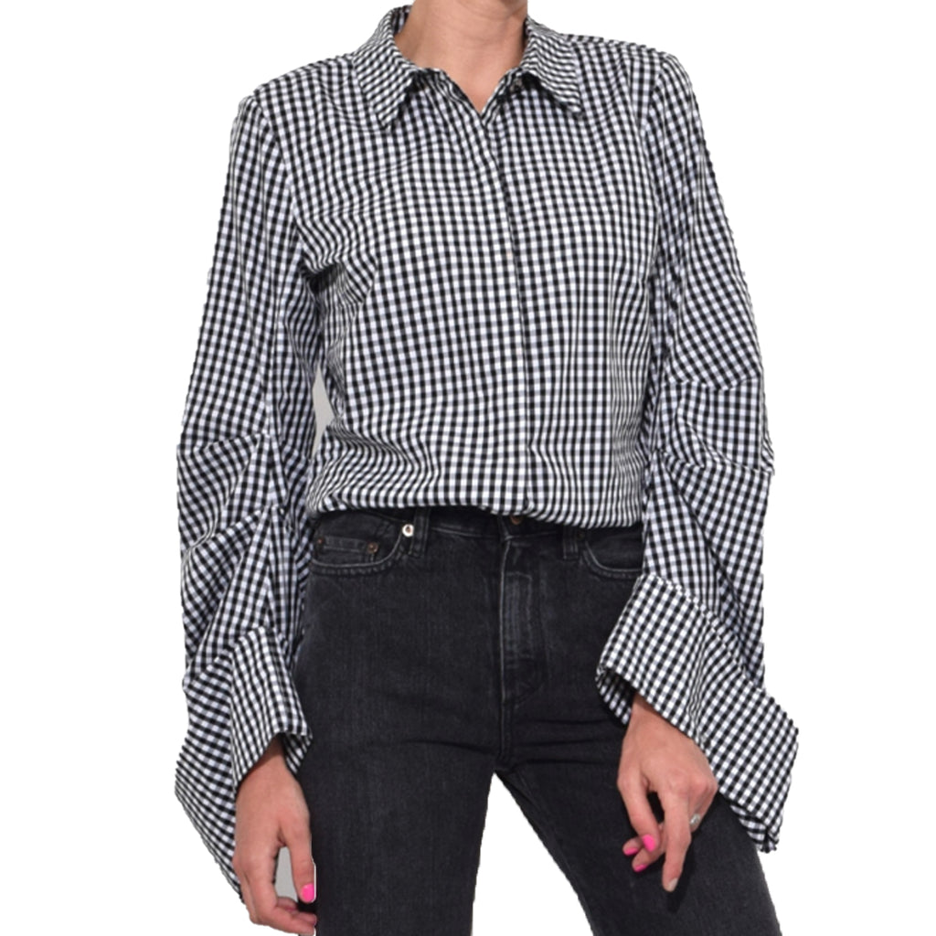 Dorothee Schumacher Gingham Gingham Print Button Down Blouse Size 2 Muse Boutique Outlet | Shop Designer Blouses on Sale | Up to 90% Off Designer Fashion