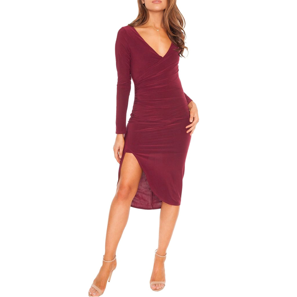 Donna Mizani Wine Sasha Midi Dress Size Small Muse Boutique Outlet | Shop Designer Dresses on Sale | Up to 90% Off Designer Fashion