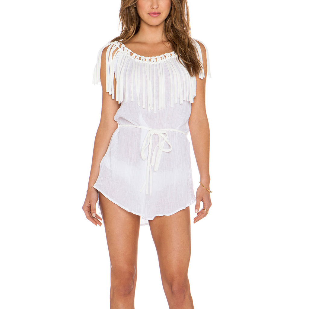Eberjey White Ship Wrecked Rania Tassel Coverup Size Small Muse Boutique Outlet | Shop Designer Swimwear on Sale | Up to 90% Off Designer Fashion