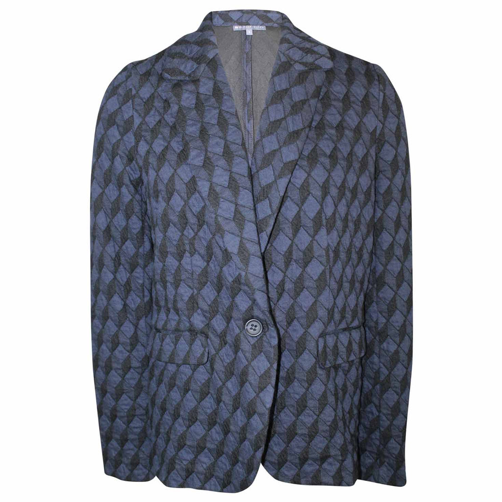 Elliott Lauren Navy / Black Printed Knit Blazer Size 8 Muse Boutique Outlet | Shop Designer Blazers on Sale | Up to 90% Off Designer Fashion