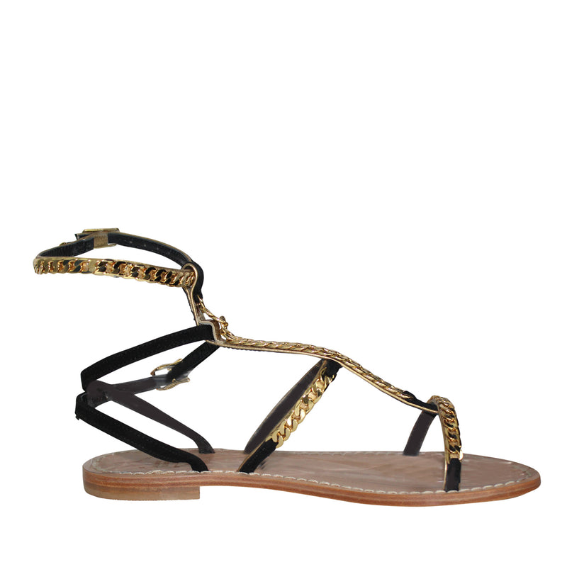 Emanuela Caruso Capri Black/Gold Catena Gold Chain Sandal Size 37 Muse Boutique Outlet | Shop Designer Sandals on Sale | Up to 90% Off Designer Fashion