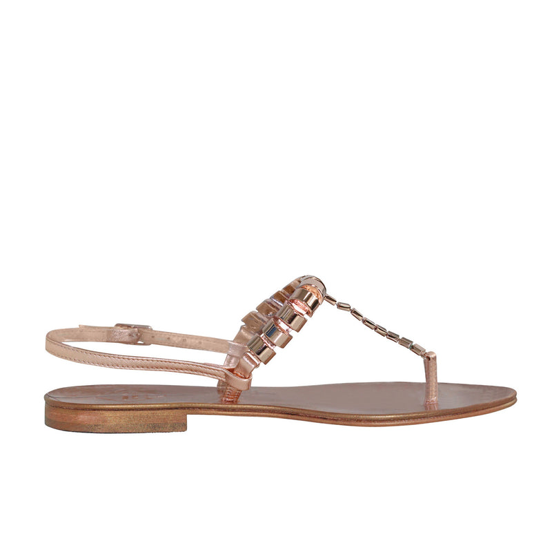 Emanuela Caruso Capri Rose Gold Catena Cilindri Sandal - Rose Gold Size 37 Muse Boutique Outlet | Shop Designer Sandals on Sale | Up to 90% Off Designer Fashion