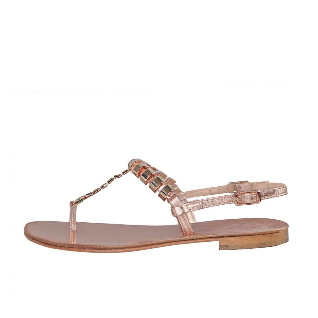 Emanuela Caruso Capri  Catena Cilindri Sandal - Rose Gold Size  Muse Boutique Outlet | Shop Designer Sandals on Sale | Up to 90% Off Designer Fashion