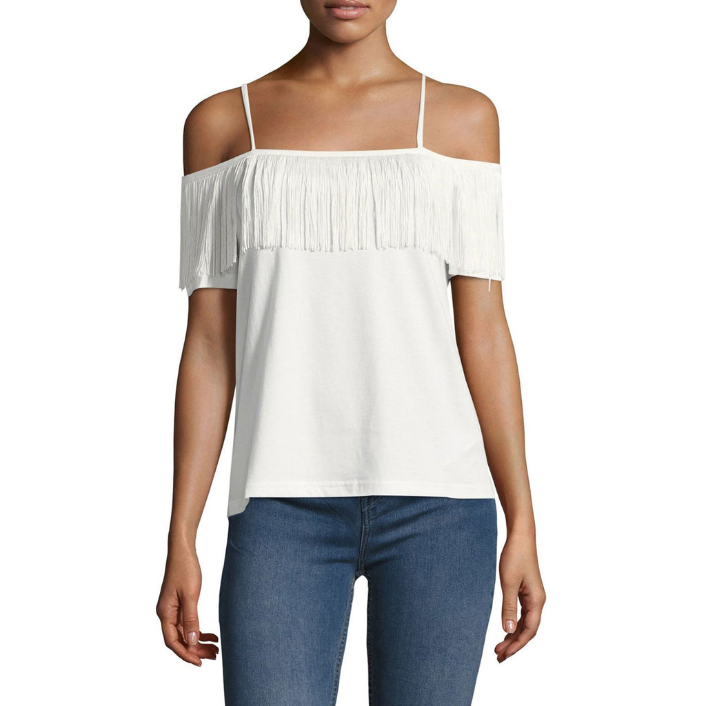 Endless Rose White Fringe Off the Shoulder Top Size Large Muse Boutique Outlet | Shop Designer Clearance Tops on Sale | Up to 90% Off Designer Fashion