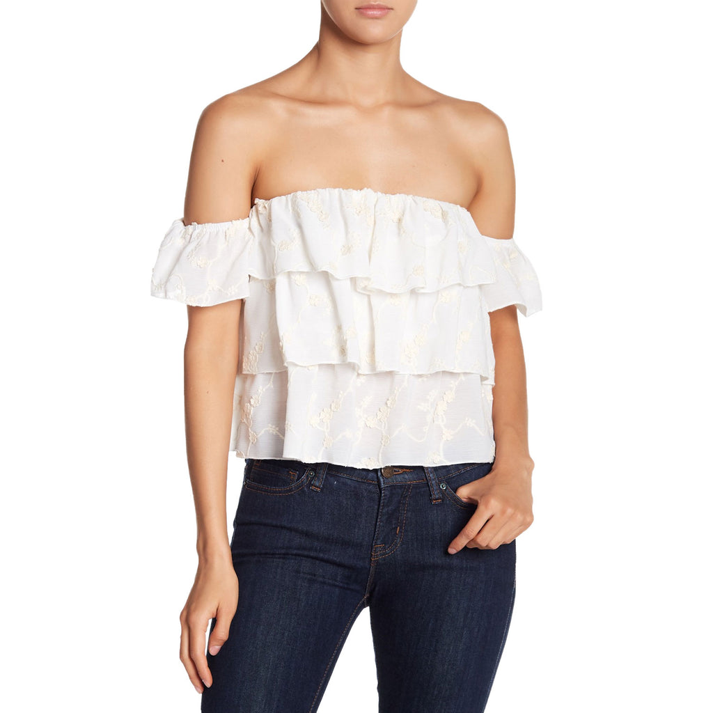 Endless Rose Ivory Ruffled Embroidered Off the Shoulder Blouse Size Small Muse Boutique Outlet | Shop Designer Clearance Tops on Sale | Up to 90% Off Designer Fashion