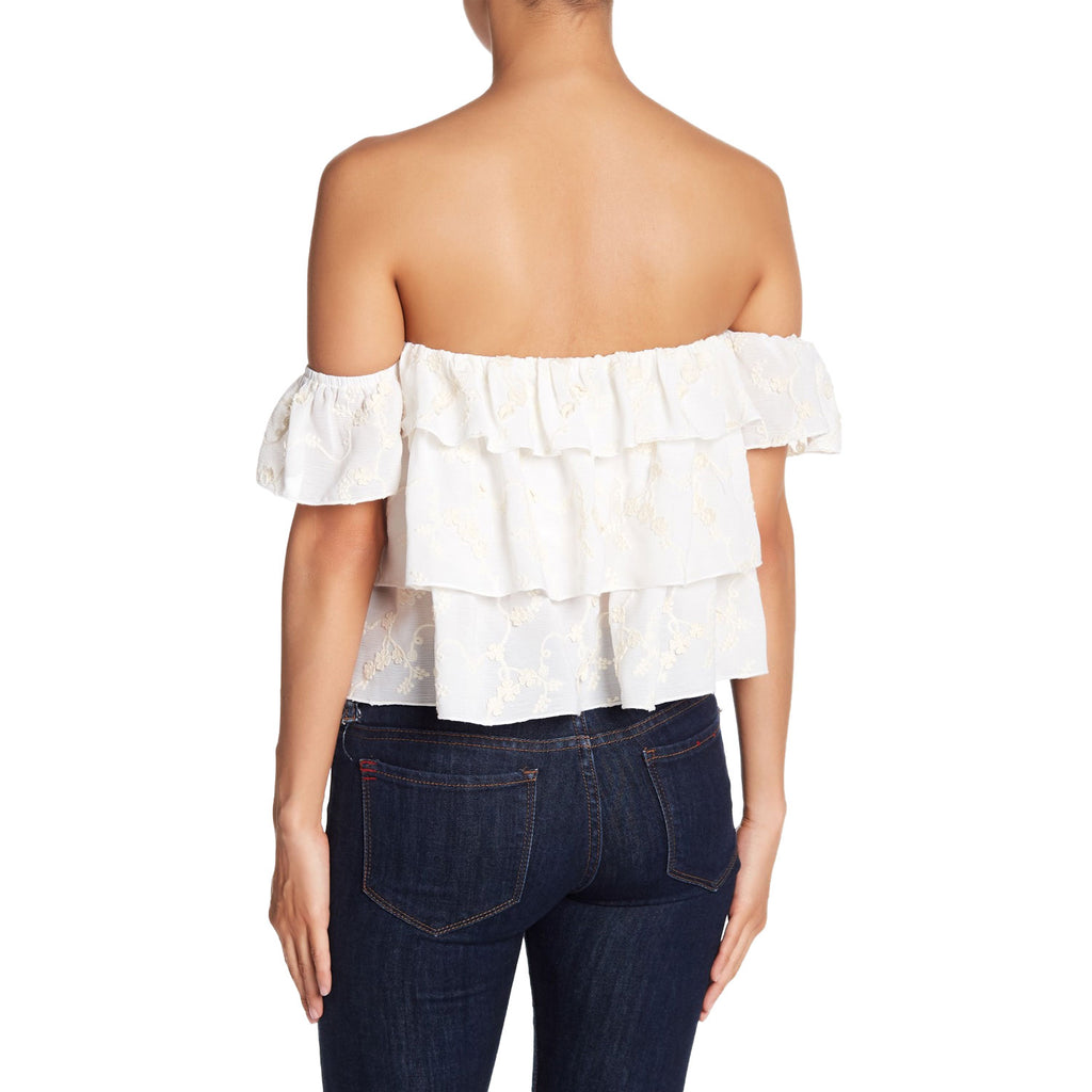 Endless Rose  Ruffled Embroidered Off the Shoulder Blouse Size  Muse Boutique Outlet | Shop Designer Clearance Tops on Sale | Up to 90% Off Designer Fashion