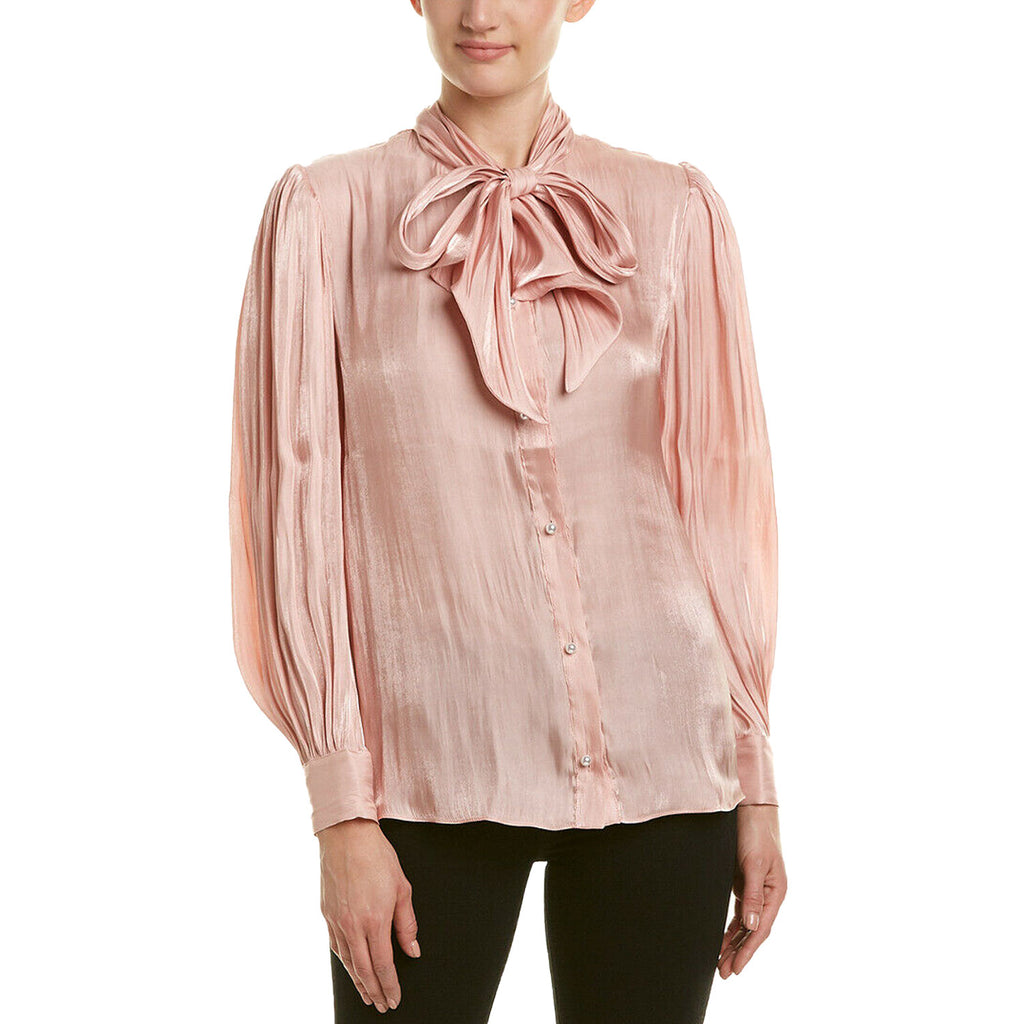 Endless Rose Pink Pearl Button Up Blouse Size Small Muse Boutique Outlet | Shop Designer Long Sleeve Tops on Sale | Up to 90% Off Designer Fashion