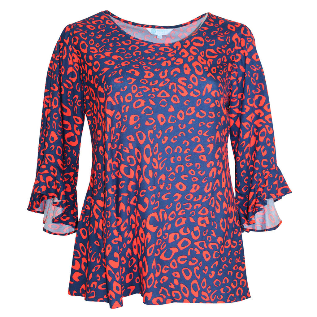 Escapada Living Navy/Orange Cheetah Printed Boat Neck Top Size 0X Muse Boutique Outlet | Shop Designer Plus Size Tops on Sale | Up to 90% Off Designer Fashion