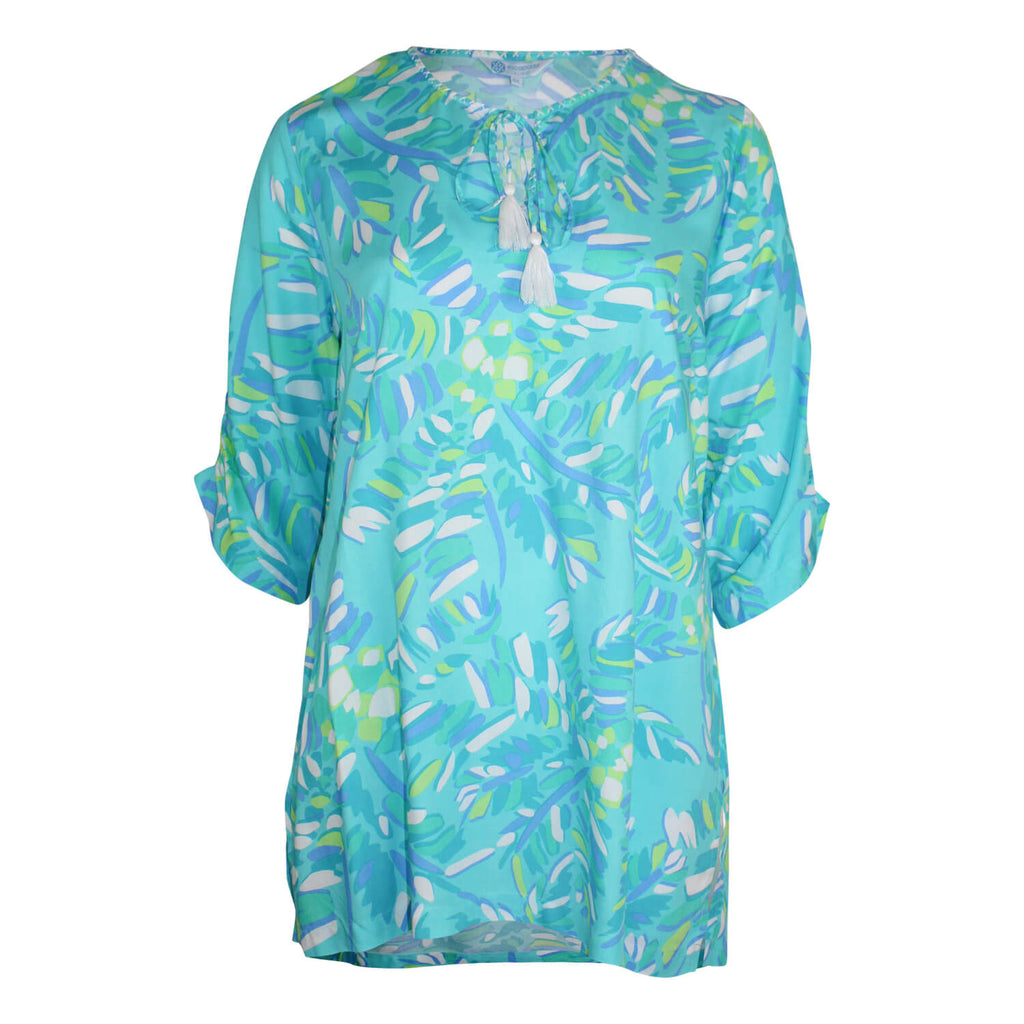 Escapada Living Aqua/Seaglass Jungle 3/4 Sleeve Printed Tie Neck Top Size 0X Muse Boutique Outlet | Shop Designer Plus Size Tops on Sale | Up to 90% Off Designer Fashion
