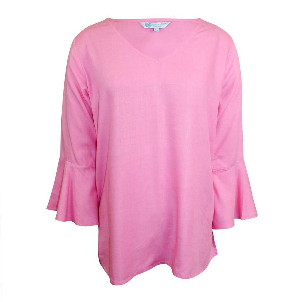 Escapada Living Light Pink 3/4 Sleeve V Neck Top Size Extra Small Muse Boutique Outlet | Shop Designer Clearance Tops on Sale | Up to 90% Off Designer Fashion