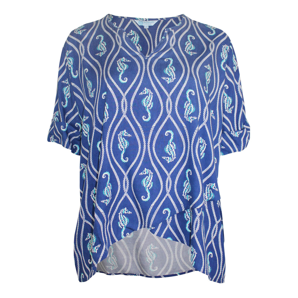 Escapada Living Aegean Blue/White Sandbar Printed Wrap Hem Top Size 1X Muse Boutique Outlet | Shop Designer Plus Size Tops on Sale | Up to 90% Off Designer Fashion