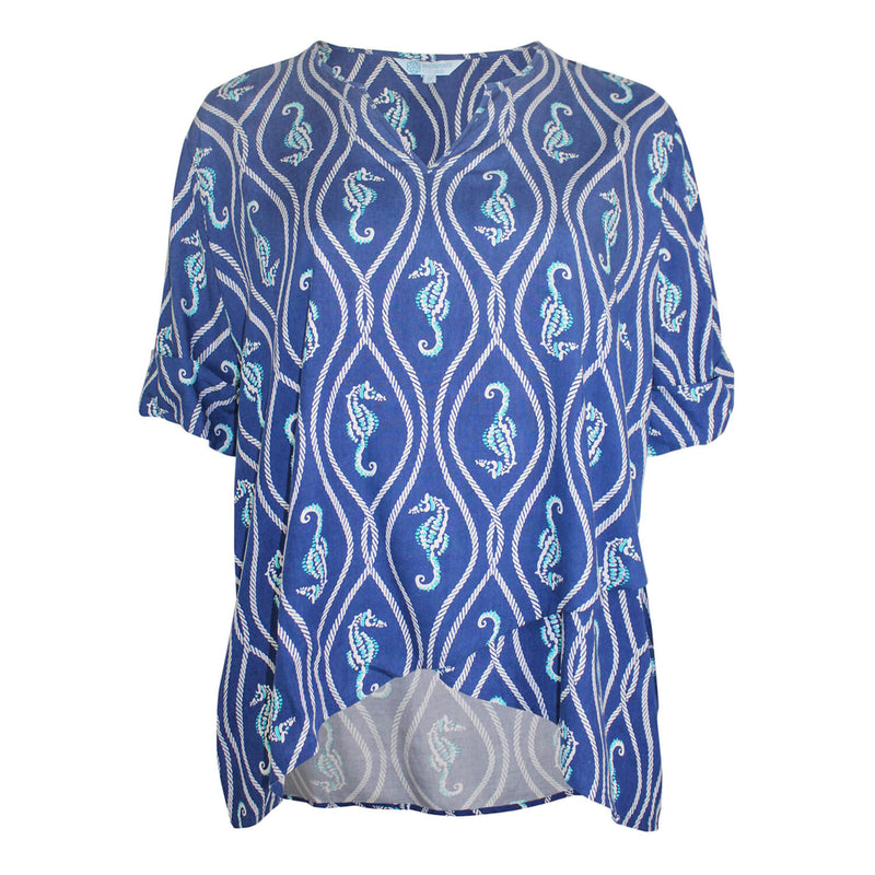 Escapada Living Aegean Blue/White Sandbar Printed Wrap Hem Top Size 1X Muse Boutique Outlet | Shop Designer Short Dresses on Sale | Up to 90% Off Designer Fashion