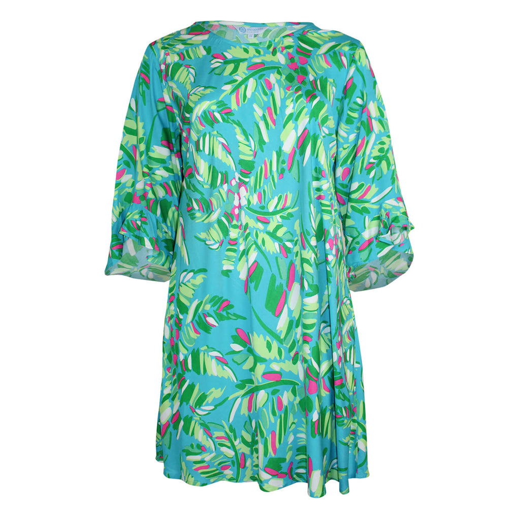 Escapada Living Turquorise/ Celery Jungle Printed 3/4 Sleeve Ruffle Dress Size 1X Muse Boutique Outlet | Shop Designer Dresses on Sale | Up to 90% Off Designer Fashion