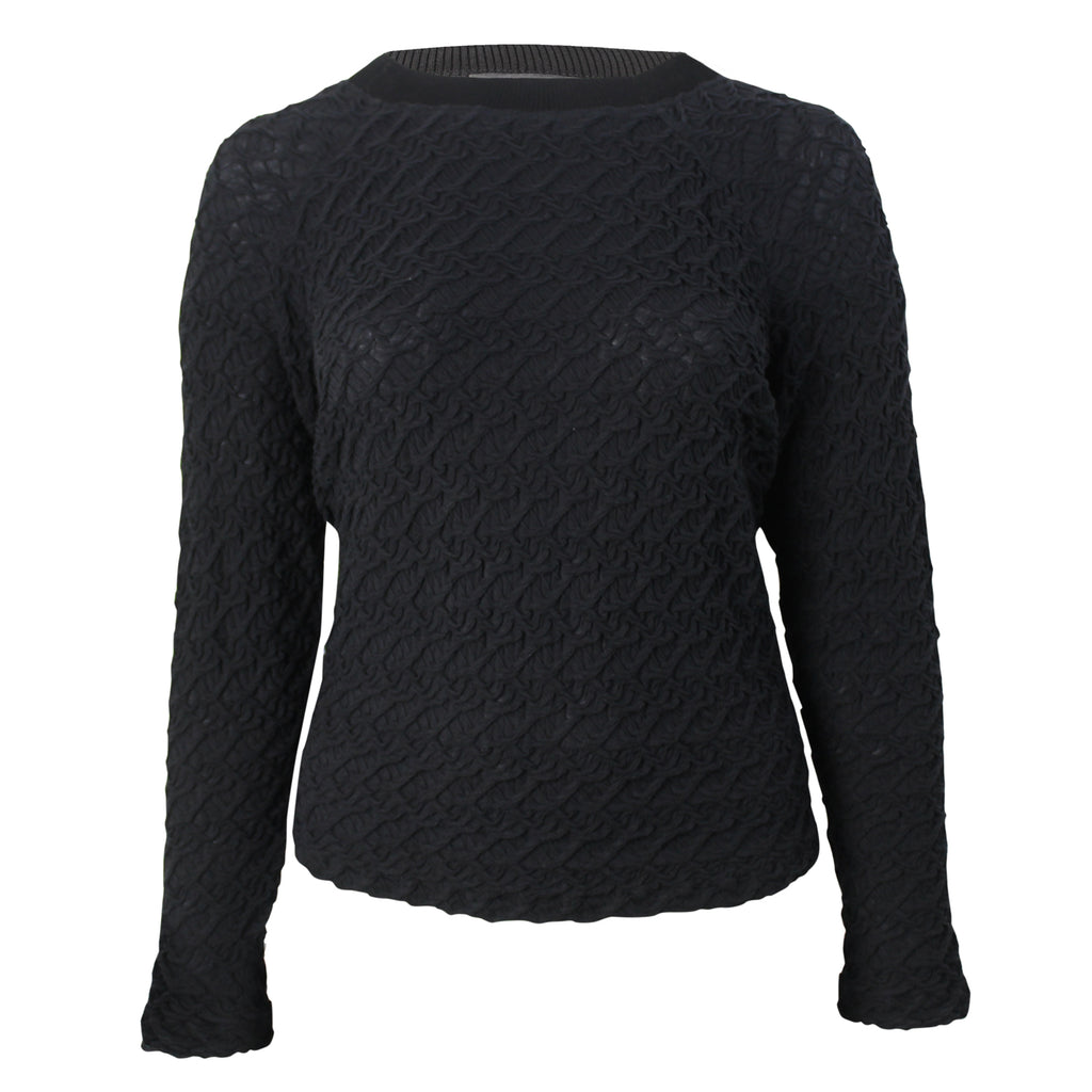 Evelin Brandt Berlin Black Textured Front Sweater Plus Size Size 50 Muse Boutique Outlet | Shop Designer Plus Size Sweaters on Sale | Up to 90% Off Designer Fashion