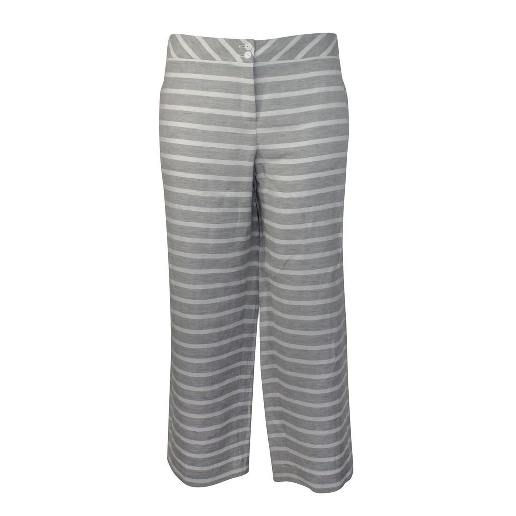 Evelin Brandt Berlin Grey Striped Linen Pant Plus Size Size 44 Muse Boutique Outlet | Shop Designer Clearance Bottoms on Sale | Up to 90% Off Designer Fashion