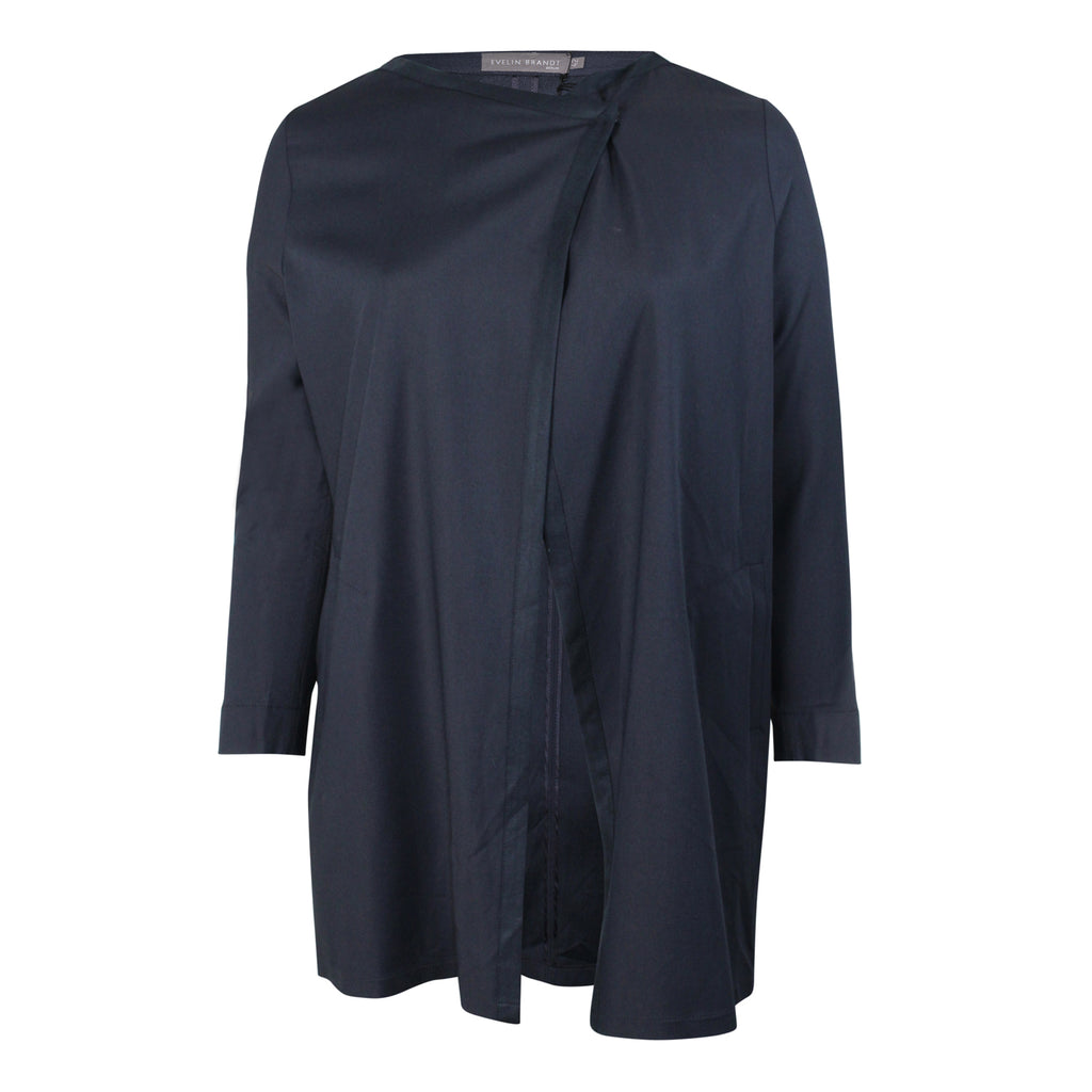 Evelin Brandt Berlin Navy Drape Front Jacket Plus Size Size 42 Muse Boutique Outlet | Shop Designer Plus Size Outerwear on Sale | Up to 90% Off Designer Fashion