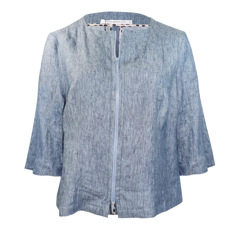 Evelin Brandt Berlin Blue Chambray Jacket Plus Size Size 48 Muse Boutique Outlet | Shop Designer Clearance Outerwear on Sale | Up to 90% Off Designer Fashion