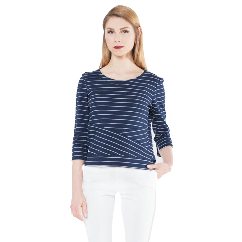 Evelin Brandt Berlin Navy Striped Knit Top Plus Size Size 52 Muse Boutique Outlet | Shop Designer Clearance Tops on Sale | Up to 90% Off Designer Fashion