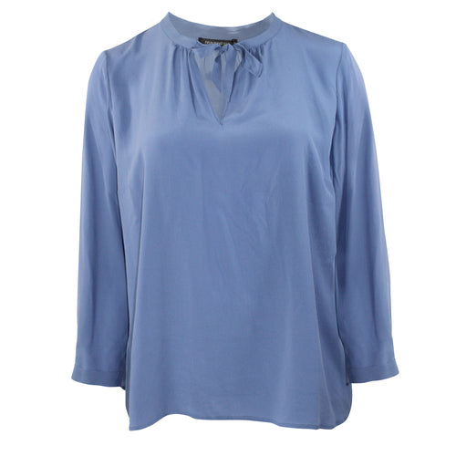 Evelin Brandt Berlin Tie Front Top Plus Size 50 Blue Muse Boutique Outlet