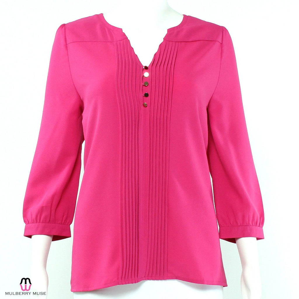 Everly Pink Everly Pleated Blouse Size Small Muse Boutique Outlet | Shop Designer Clearance Tops on Sale | Up to 90% Off Designer Fashion