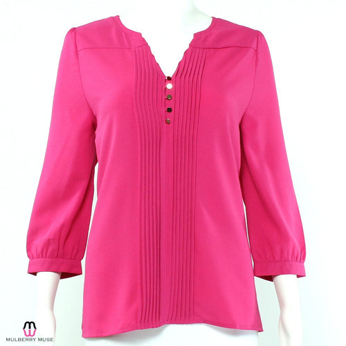 Everly Everly Pleated Blouse Small Pink Muse Boutique Outlet