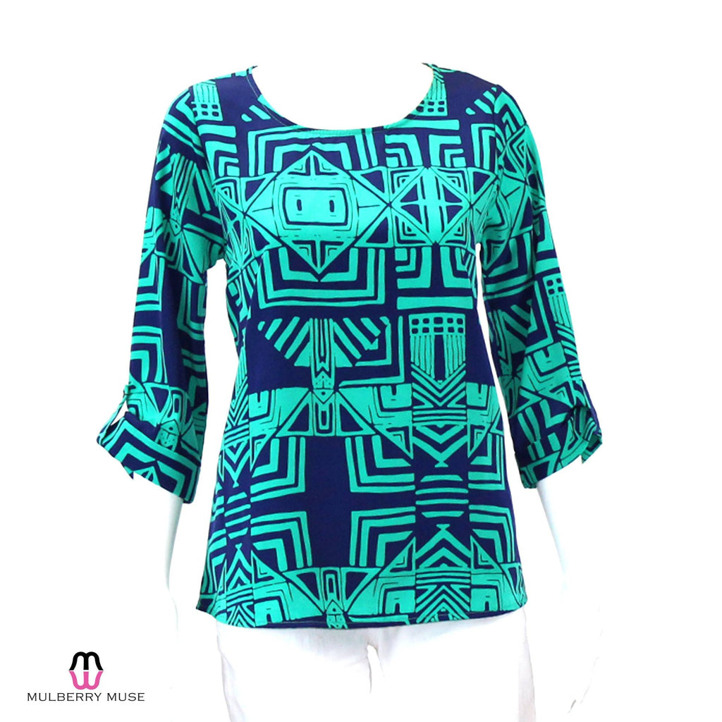 Everly Navy/Green Everly Navy and Green Print Top Size Small Muse Boutique Outlet | Shop Designer Clearance Tops on Sale | Up to 90% Off Designer Fashion
