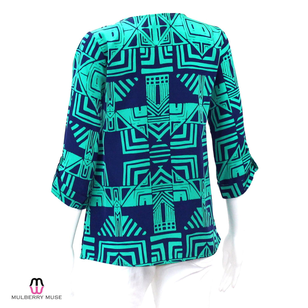 Everly  Everly Navy and Green Print Top Size  Muse Boutique Outlet | Shop Designer Clearance Tops on Sale | Up to 90% Off Designer Fashion