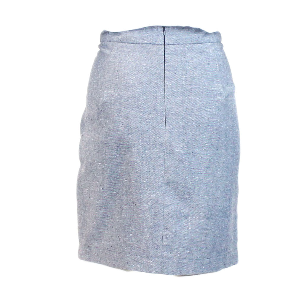 Ezra  Ezra Indigo Chambray Skirt Size  Muse Boutique Outlet | Shop Designer Clearance Skirts on Sale | Up to 90% Off Designer Fashion