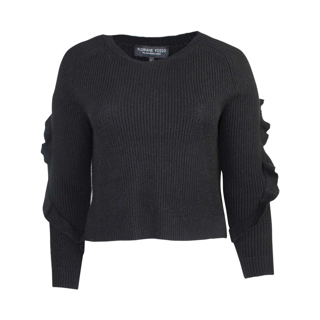 Floriane Fasso Black Ruffle Sleeve Sweater Size Large Muse Boutique Outlet | Shop Designer Sweaters on Sale | Up to 90% Off Designer Fashion
