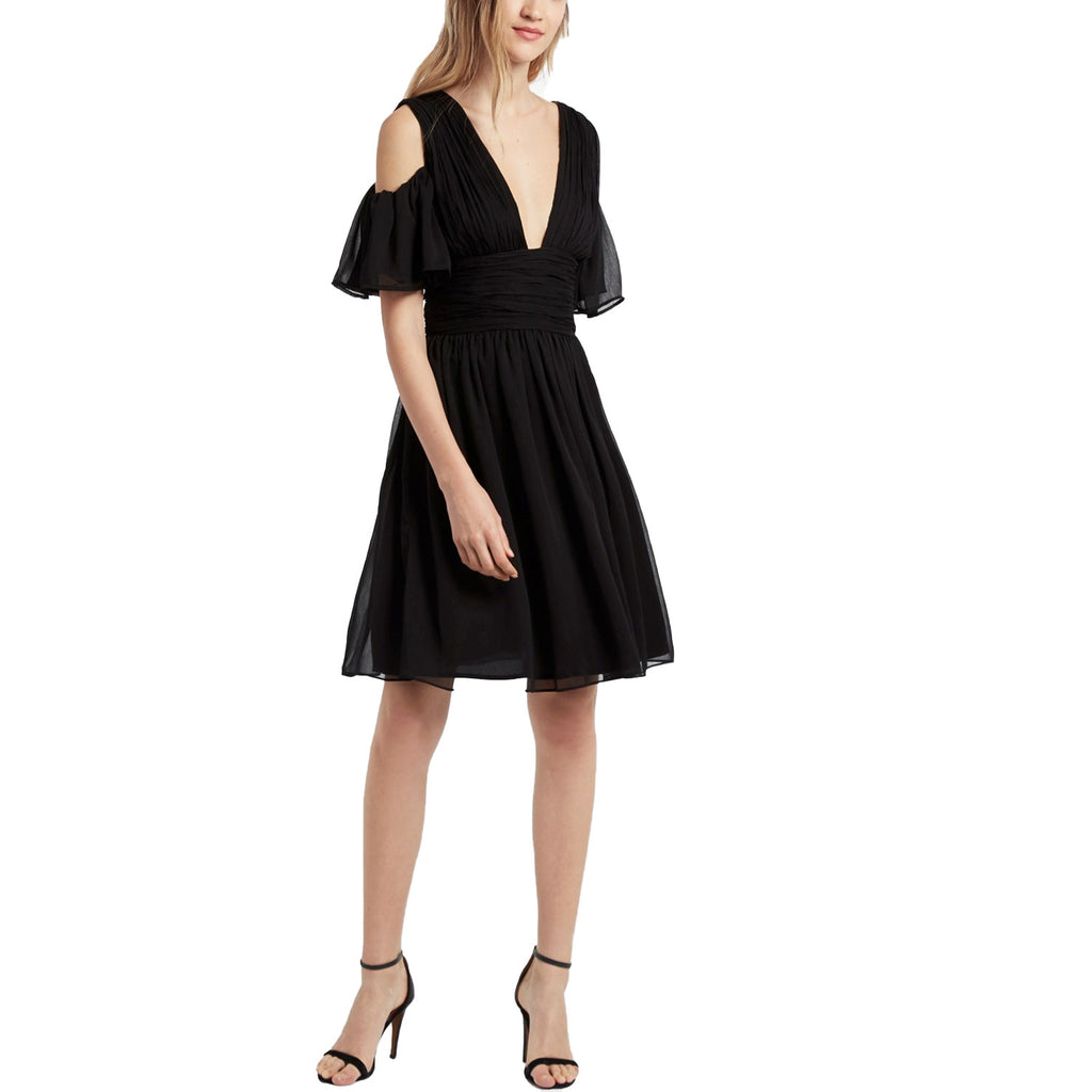 French Connection Black Constance Draped Cold Shoulder Dress Size 2 Muse Boutique Outlet | Shop Designer Dresses on Sale | Up to 90% Off Designer Fashion