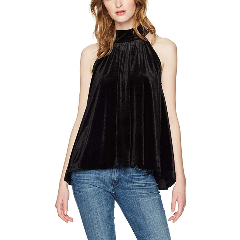 French Connection Black Velvet High Neck Swing Top Size Extra Small Muse Boutique Outlet | Shop Designer Sleeveless Tops on Sale | Up to 90% Off Designer Fashion