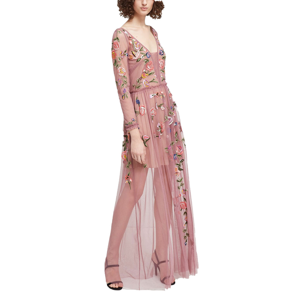 French Connection Tyrian Rose Katalina Sheer Maxi Dress Size 0 Muse Boutique Outlet | Shop Designer Dresses on Sale | Up to 90% Off Designer Fashion