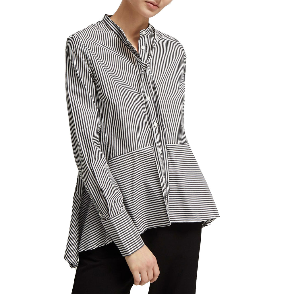 French Connection Black/White Summer Stripe Tie Neck Shirt Size 0 Muse Boutique Outlet | Shop Designer Long Sleeve Tops on Sale | Up to 90% Off Designer Fashion