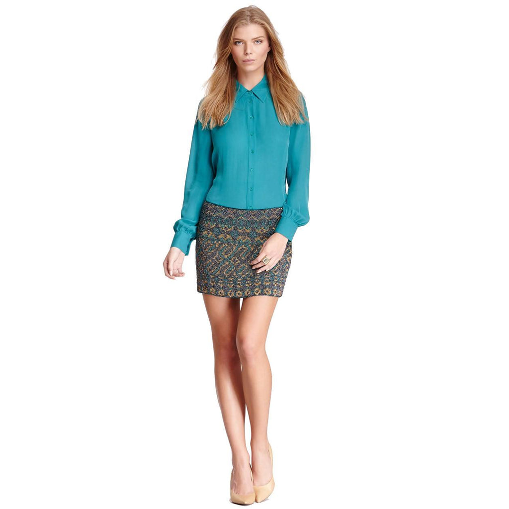 Haute Hippie Blue Border Seed Bugle Beaded Silk Mini Skirt Size Medium Muse Boutique Outlet | Shop Designer Clearance Skirts on Sale | Up to 90% Off Designer Fashion