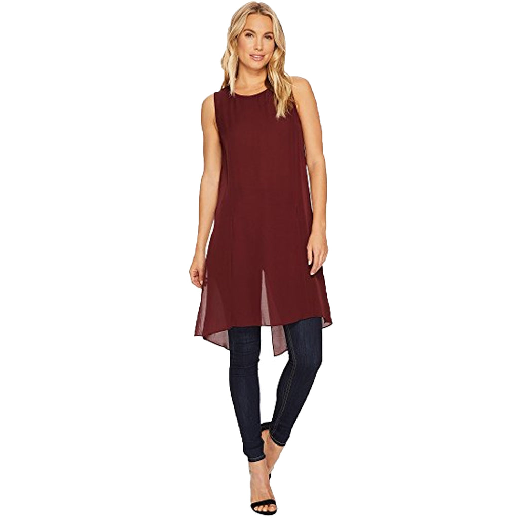 HEATHER Oxblood Cybil Silk Split Tunic Size Extra Small (P) Muse Boutique Outlet | Shop Designer Sleeveless Tops on Sale | Up to 90% Off Designer Fashion