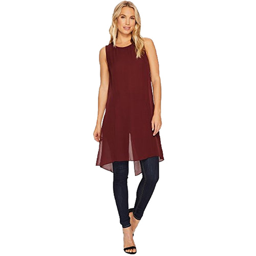 Heather Cybil Silk Split Tunic Extra Small (P) Oxblood Muse Boutique Outlet