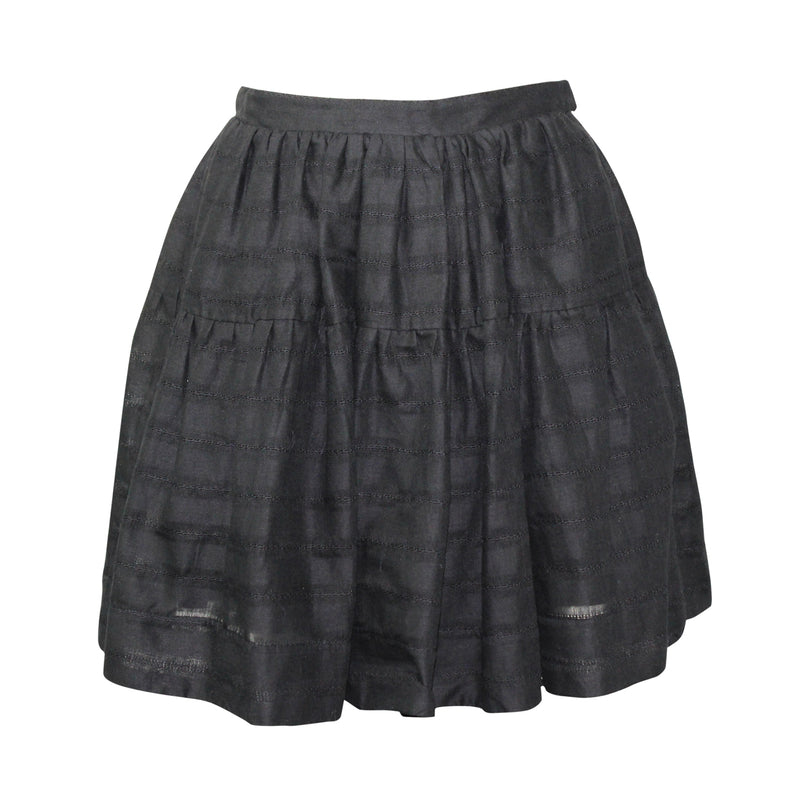 Heidi Merrick Black Tiered Cotton Gathered A-Line Skirt Size 4 Muse Boutique Outlet | Shop Designer Skirts on Sale | Up to 90% Off Designer Fashion