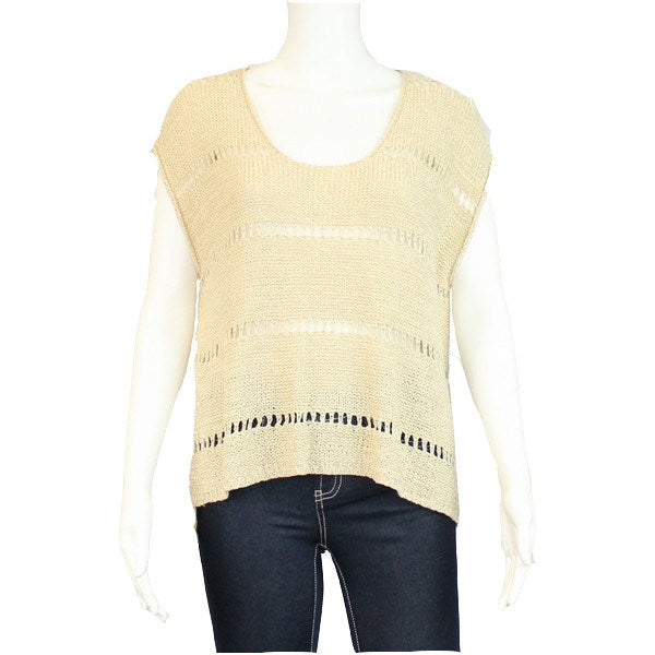 Hem and Thread Taupe Knit Crochet Top Size Medium/Large Muse Boutique Outlet | Shop Designer Clearance Tops on Sale | Up to 90% Off Designer Fashion